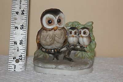 Porcelain Owl Family on Branch with Baby Owls Vintage HOMCO