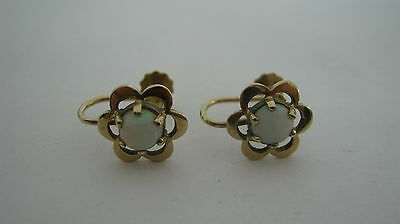 Vintage 9ct Gold Opal Screw Back Daisy Style Earrings