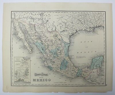 Antique Map of Mexico with Inset of Tehuantepec Isthmus from Gray's Atlas 1873