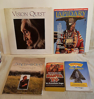5 Native American Books Lot, Vision Quest, Arrowheads & Stone Artifacts