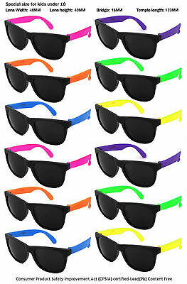 12 Pack Kids Size Neon Sunglasses with CPSIA certified-Lead(Pb) Content Free w/