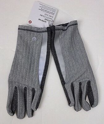 Lululemon Run with me Glove Heathered Herringbone Gray Rulu Running