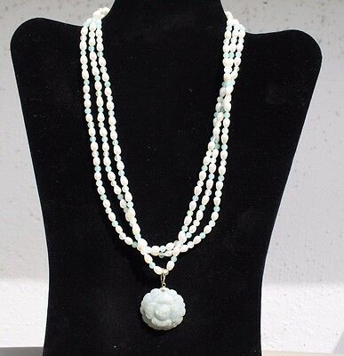 Gold 14 Karat Green Jade and White Pearl Necklace