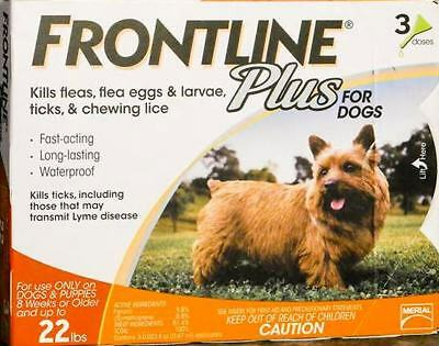 FRONTLINE Plus for dogs 0-22lbs Orange  3 Pk USA EPA Aprroved