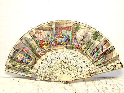 ANTIQUE FRENCH PAPER, BONE AND GOLD LEAF FAN 1800s