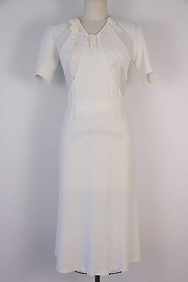 Vintage 1930s silk lace dress size S handmade wedding