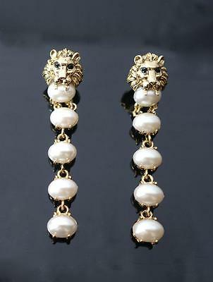 Vintage Creamy Pearl dangle chandelier earrings Black eye Lion head 2.75 inch L
