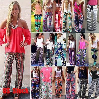 Women Boho Floral Yoga Palazzo Pants Wide Straight Leg Long Trousers Loose S-XL