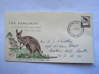 WCS FIRST DAY COVER THE KANGAROO 9 pence c1959 BROKEN HILL NSW