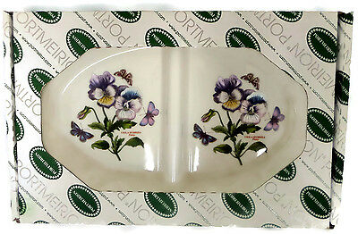 "Portmeirion Botanic Garden Pansy 14.5"" Oval Divided Dish Fire and Ice"