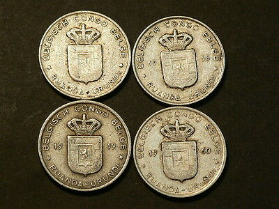 Belgium Congo Lot Of 4, One 1 Franc 1957 to 1960, Ruanda Urundi #G4254