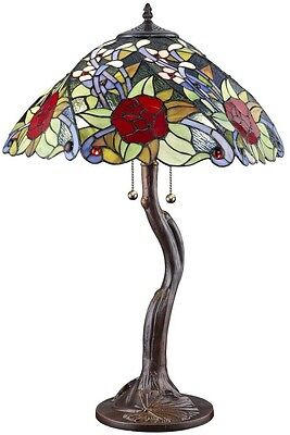 Tiffany-Style Rose Flower Design Glass Stained Shade Bronze Table Lamp Art Light