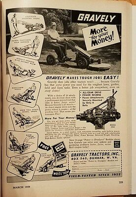 1958 GRAVELY TRACTORS  Original Vintage Advertising MORE FOR YOUR MONEY EASY