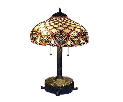 Elegant Tiffany Style Jewel Glass Stained Baroque Art Shade Bronze Table Lamp