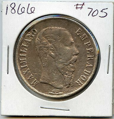 1866 Mexico Empire of Maximilian Silver 1 Peso. Lot #300