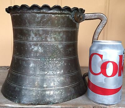 Antique Persian Primitive Islamic Tinned Copper Water Jug Pitcher Qajar Emblem