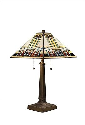 Antique Bronze Table Lamp w/ Tiffany Blue Mission Style Glass Stained Art Shade
