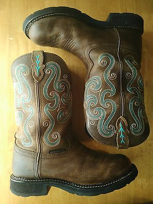 Justin Boots Women's Size 8 Western Cowboy Cowgirl Boots Brown Leather & Blue