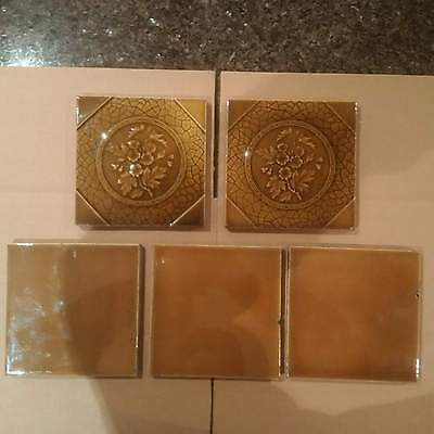 1 Lot of 5 Victorian Majolica Fireplace Tiles Architectural Salvage Leaves