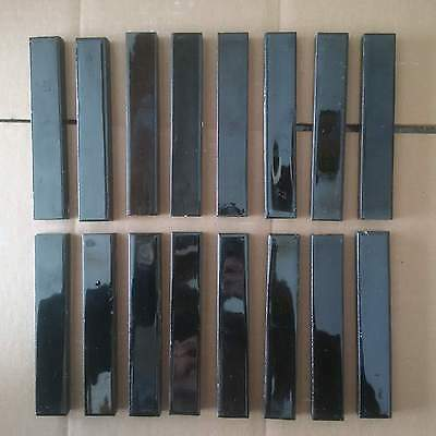 1 lot of 16 Victorian Fireplace Tile Gloss Black Architectural Salvage