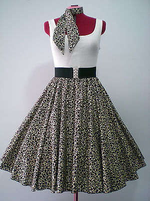 "ROCK N ROLL/ROCKABILLY ""Animal Print"" SKIRT & SCARF S-M Browns & Cream."