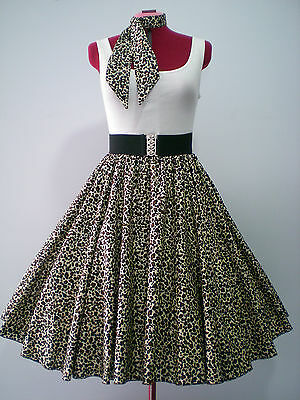"ROCK N ROLL/ROCKABILLY ""Leopard Print"" SKIRT & SCARF S-M Browns & Cream."