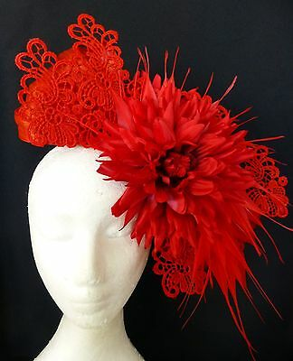 Red Flower Lace Hat Fascinator Feathers Races Wedding Millinery
