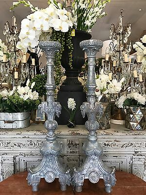 Stunning Ornate Silver French Style Candlestick Candle Holder - Pair Available