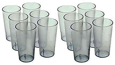 Clear Drinking Glass Cups Tumblers Break Resistant Plastic Restaurant 12 Pack