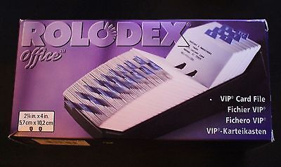 "Rolodex BLACK Business Card File Tray - New In Box 2.25 X 4 x 9"" 66998 500 CARDS"