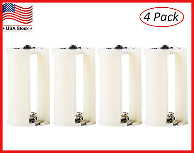 4pcs Plastic Parallel AA Battery Adapters Holder 1.5V Converter 3 AA To 1 D Size