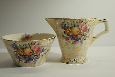 H&K China England Chintz Sugar and Creamer Fruit / Flower pattern w/ Gold 1933