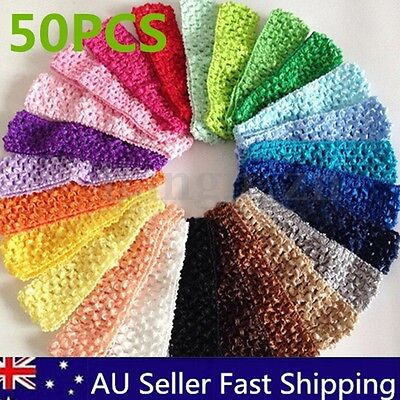 50 Bulk Elastic Baby Girls Toddler Crochet Hair Head Band Headband Hairband AU