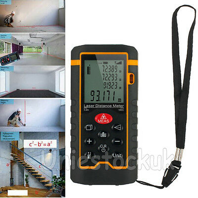 100M Handheld Digital Laser Distance Meter Diastimeter Measure Tape Range Finder