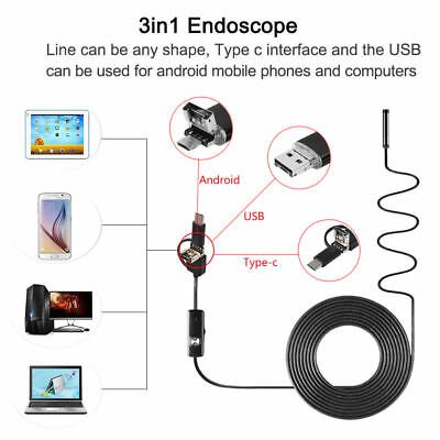 3 in 1 8mm 2M Semi Rigid USB Endoscope Type C Micro USB Waterproof Snake Camera