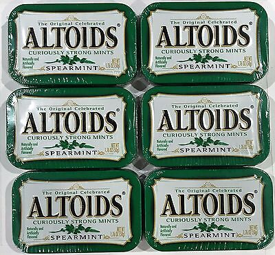 910345 6 x 50g TINS OF ALTOIDS CURIOUSLY STRONG MINTS, SPEARMINT FLAVORED! USA