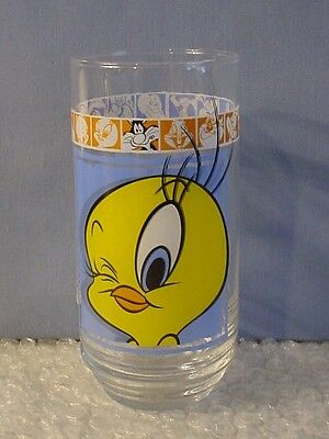NEW! 1999 Warner Bros LOONEY TUNES TWEETY DRINKING GLASS TUMBLER Sylvester