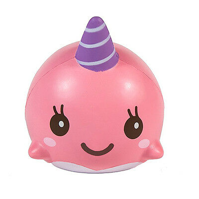 Rosa 10CM Cartoon Squishy Whale Millie Squeeze Soft Slow Rising Strap Spielzeug