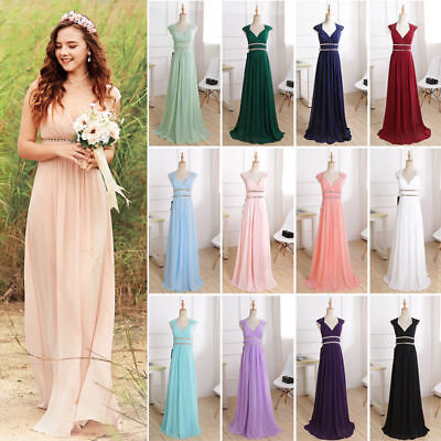 Ever-Pretty US Long Maxi Bridesmaid Dresses Formal V-Neck Wedding Dresses 08697