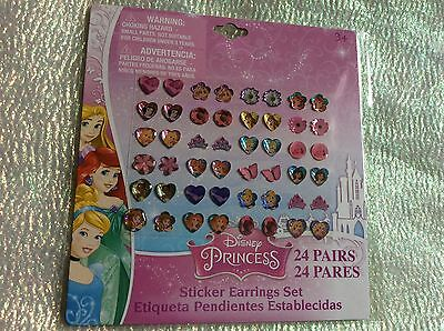 24 Pairs Girls Princess Sticker Earrings Rapunzel Ariel Merida Belle