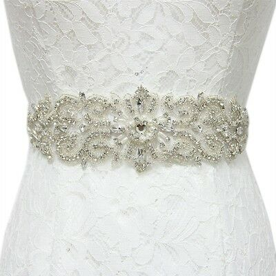 Crystal Beaded Rhinestone Bridal Belt Pearl Wedding Applique Bridal Sash USA