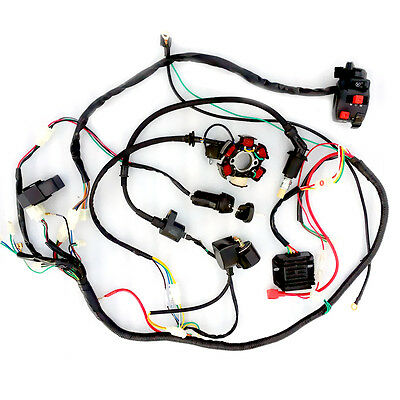 Main Harness Wiring CDI Coil Solenoid For GY6 150cc Go Kart ATV Quad W78T Buggy