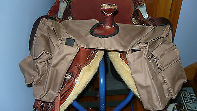Horn Saddle Bags for Horse Western Stock Halfbreed Saddles with Horn Brown