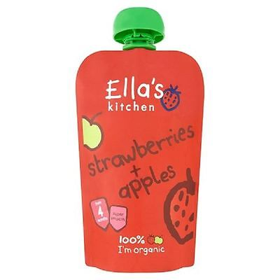Ella's Kitchen Strawberries & Apples from 4m 120g Pouch 1 2 3 6 Packs