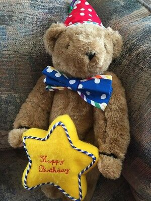 """Vermont Teddy Bear 16"""" Brown Fully Jointed Birthday Hat Tie Star"""