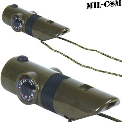 Mil-Com 7 In 1 Survival Whistle Military Compass Thermometer Led Light Mirror