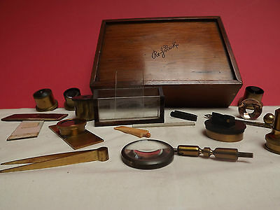 MICROSCOPE {Cased Accessories} Brass { Rare } Case signed R&J.BECK [ Complete ]