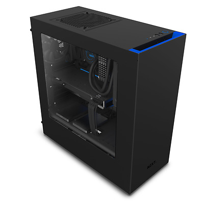 NZXT Source 340 Compact Black Blue Mid Tower PC Case Side Window 2x 120mm Fans