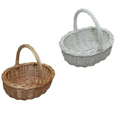 Childs Willow Wicker Oval Shopping Basket Buff  White Painted Wedding Easter Egg