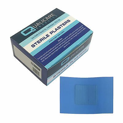 50x Qualicare Sterile Hypo-Allergenic Blue Catering Large 7.2cm x 5cm Plasters